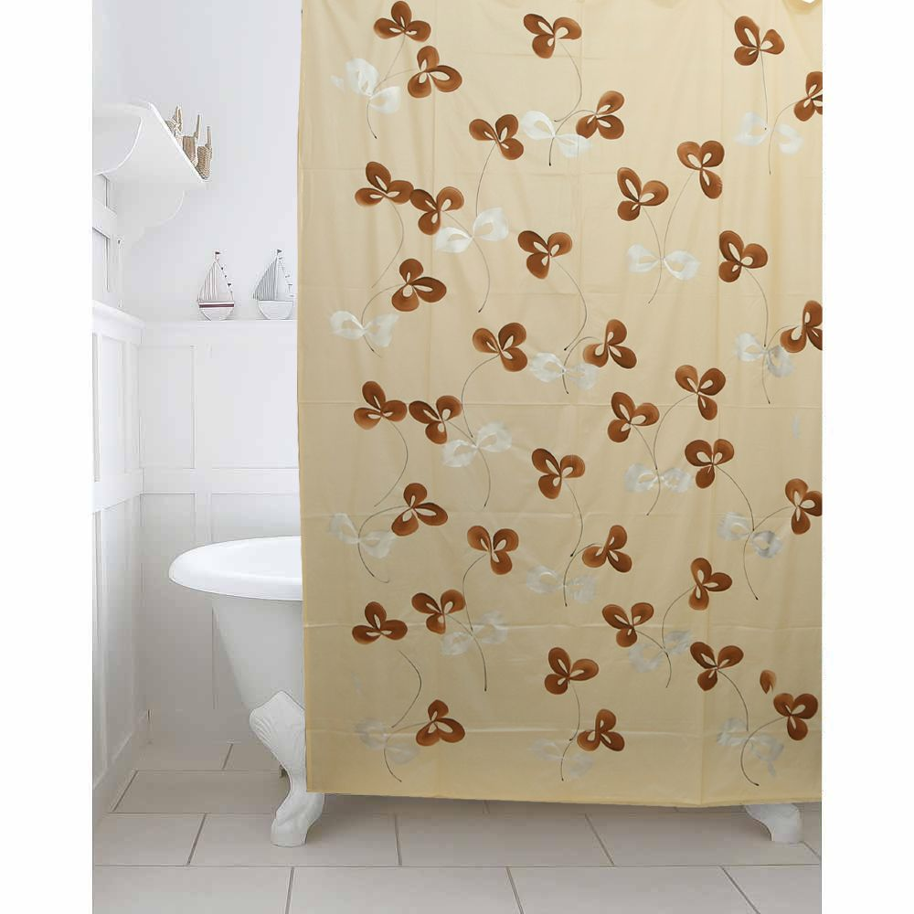 Kuber IndustriesTM Cream Floral Design PVC Premium Shower Curtain