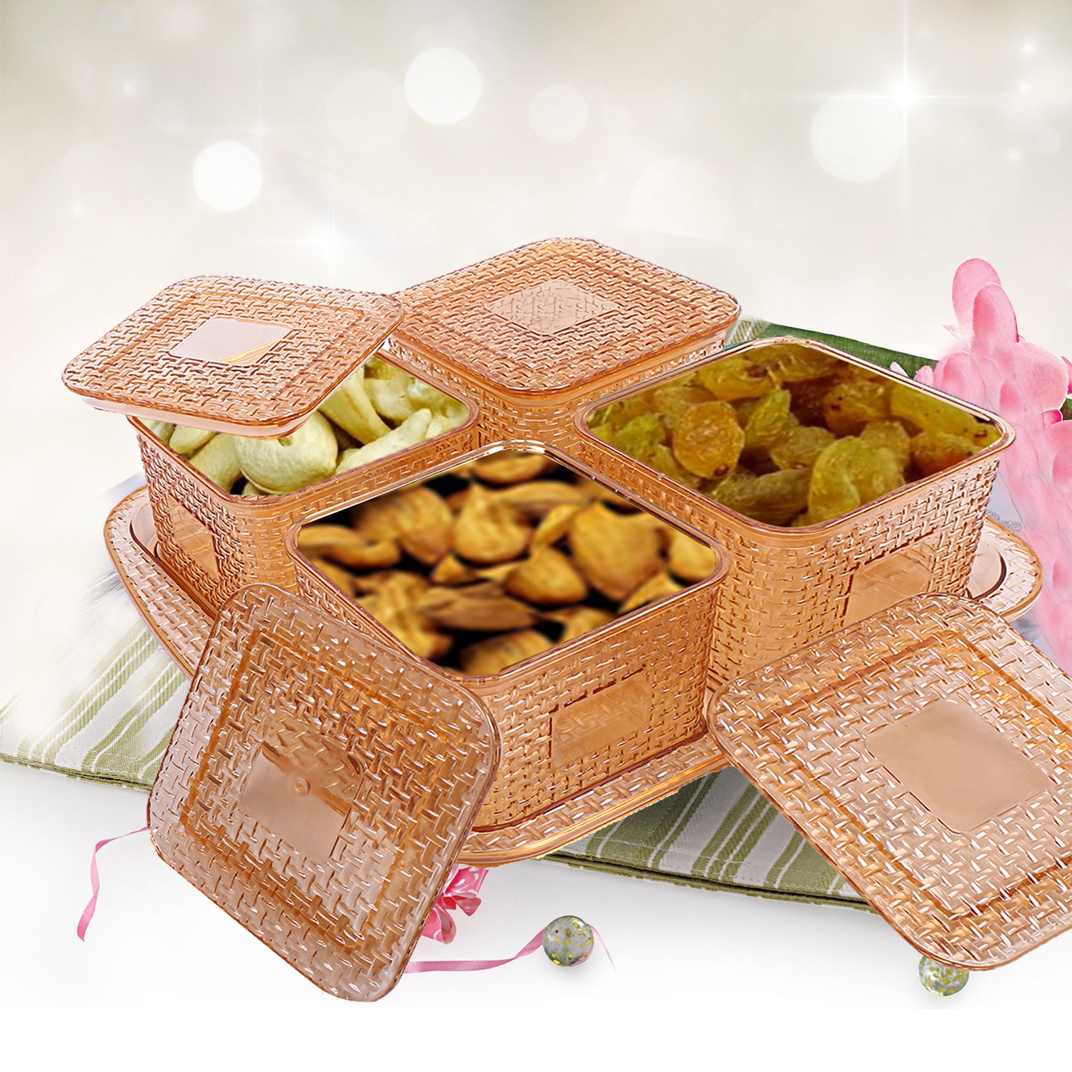 Kuber industries Dazzle Design Plastic Multi Purpose Dry Fruits Tray With Four Bowls Set (Gold) - CTKTC21119