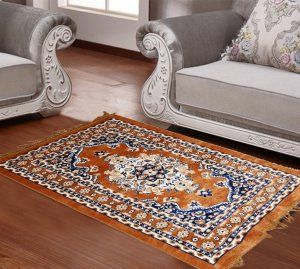 Kuber Industries™ Designer Ethnic Velvet Carpet/Rugs/Dhurrie 2 x 3.5 Feet or 26 x 42 Inches (Brown)-Carp01