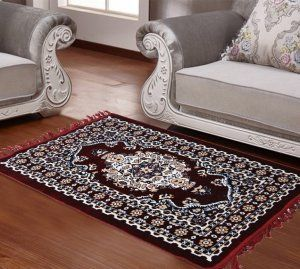 Kuber Industries™ Designer Ethnic Velvet Carpet/Rugs/Dhurrie 2 x 3.5 Feet or 26 x 42 Inches (Maroon)-Carp03