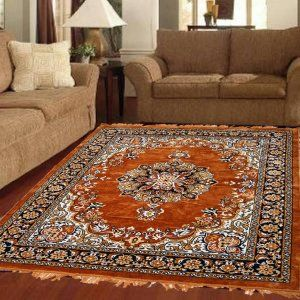 Kuber Industries™ Designer Ethnic Velvet Carpet/Rugs/Dhurrie 5x7 Feet (60*84 Inches) (Brown)-Carp12