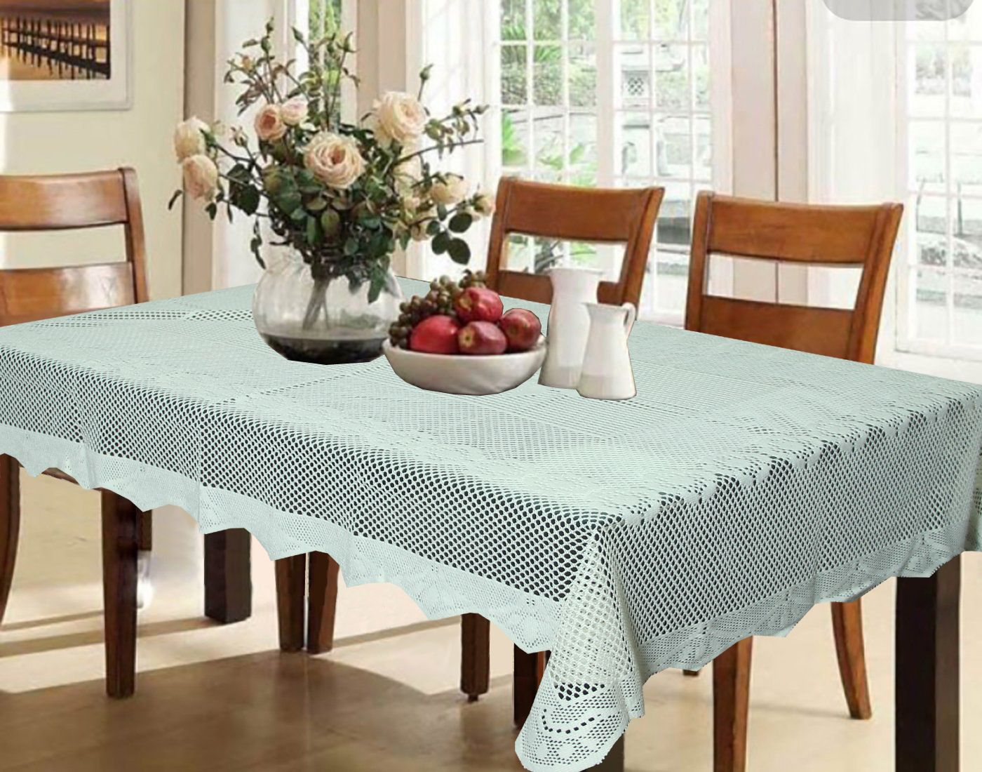Kuber industries dining table cover white croshia cloth net for 6 seater 6090