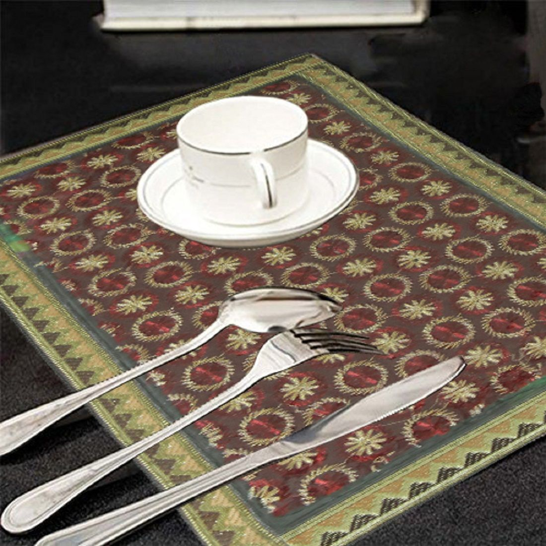 Kuber Industries™ Dining Table Place Mats Set Of 6 Pcs In Laminated Maroon Patch Design (Golden Lace)
