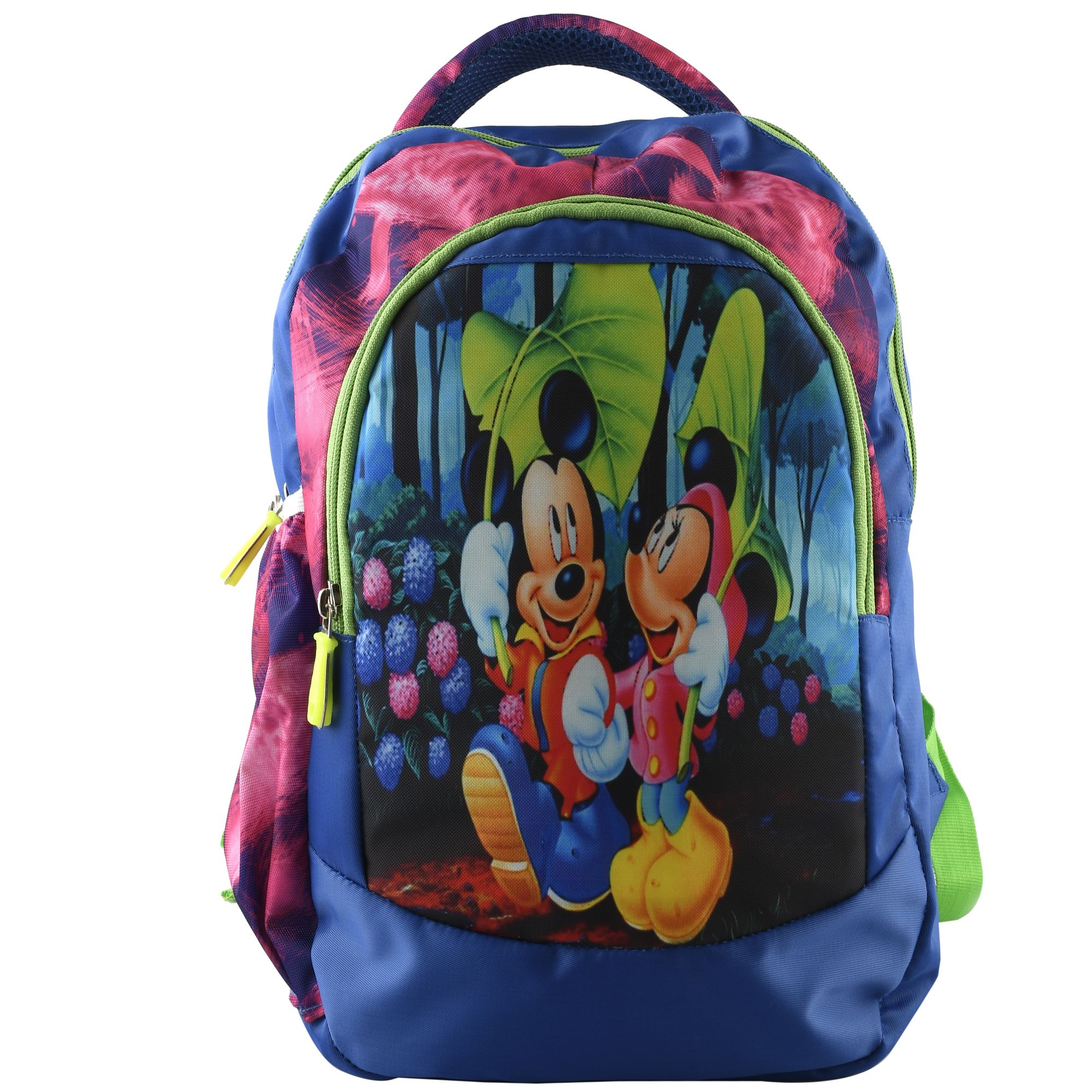 Kuber Industries Disney Mickey & Friends 15 inch Polyster School Bag/Backpack For Kids, Blue-DISNEY014