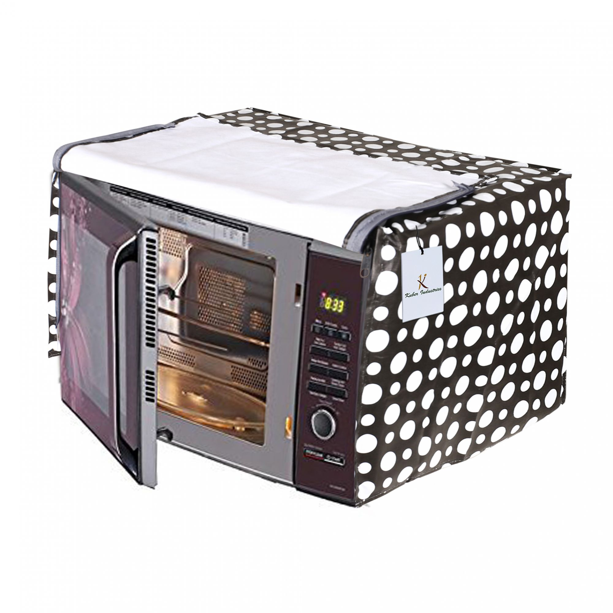 Kuber Industries Dots Design PVC Microwave Oven Full Closure Cover for 23 Litre (Grey)