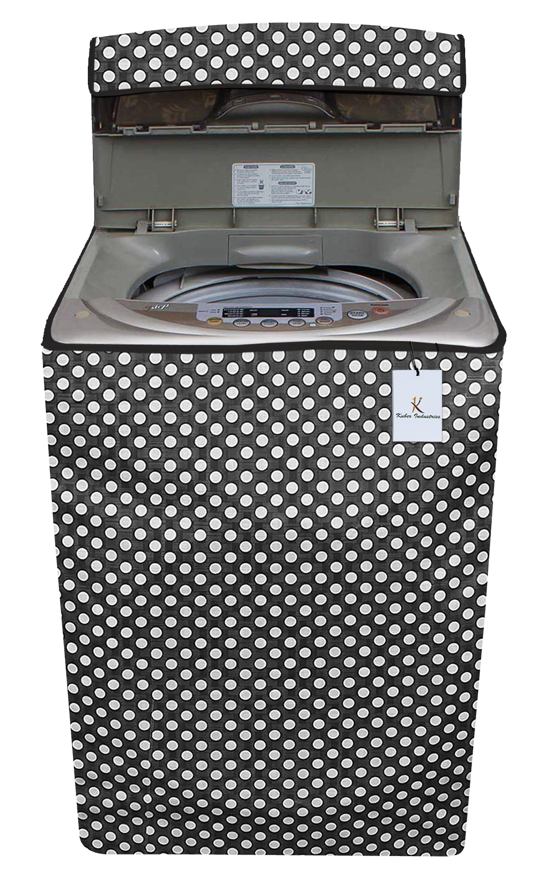 Kuber Industries Dots Design PVC Top Load Fully Automatic Washing Machine Cover With Back Hole (Grey)