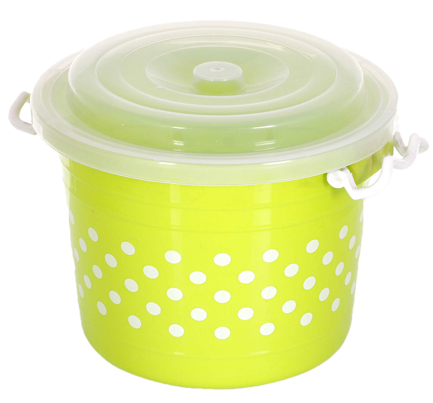 Kuber Industries Dots Design Virgin Plastic 3 Pieces Multipurpose Kitchen Storage Container With Side Lock-Handle,11 Ltrs (Green) - CTKTC34798