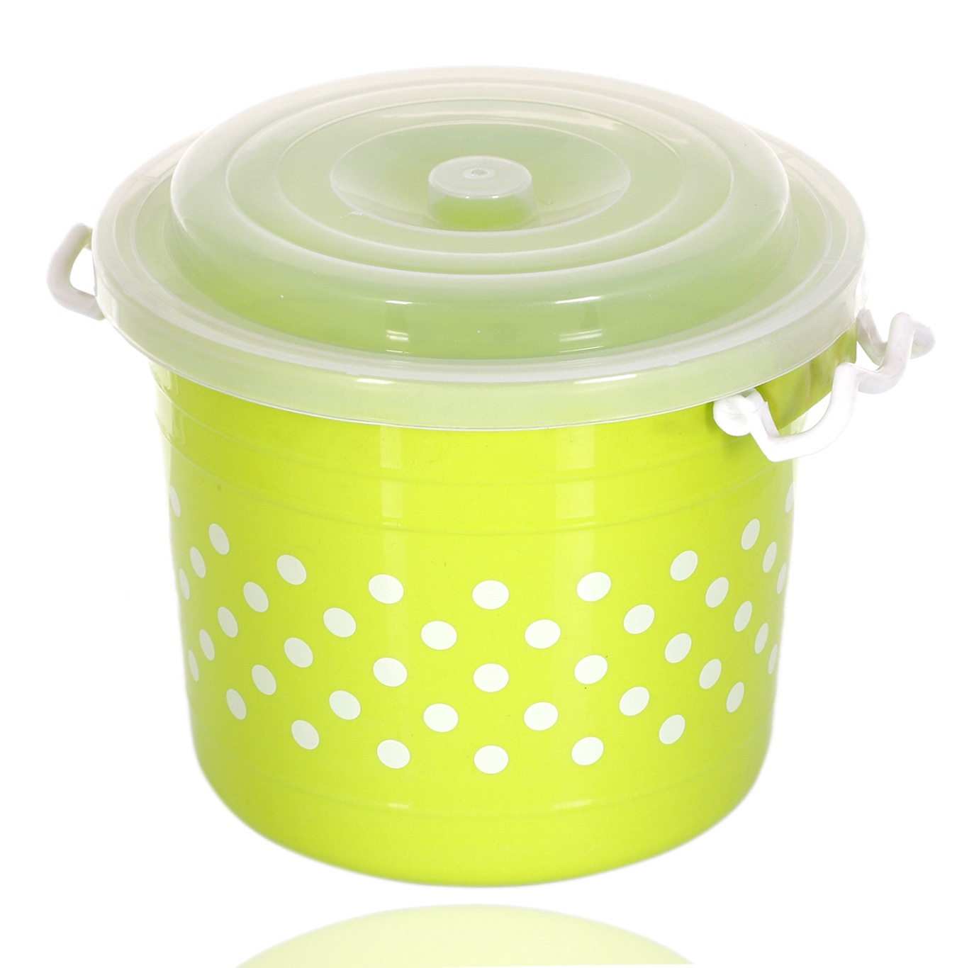Kuber Industries Dots Design Virgin Plastic 3 Pieces Multipurpose Kitchen Storage Container With Side Lock-Handle,6 Ltrs,11 Ltrs,16 Ltrs (Blue, Pink & Green) - CTKTC34834