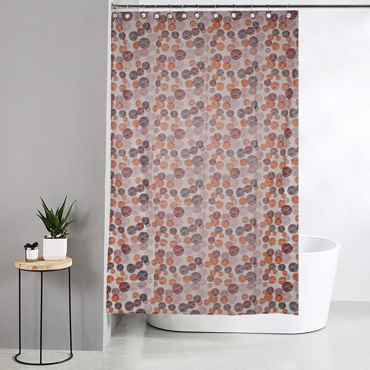 Kuber Industries Dots Design Waterproof PVC Shower Curtain with 8 Hooks 54 inch x 84 inch (Cream)