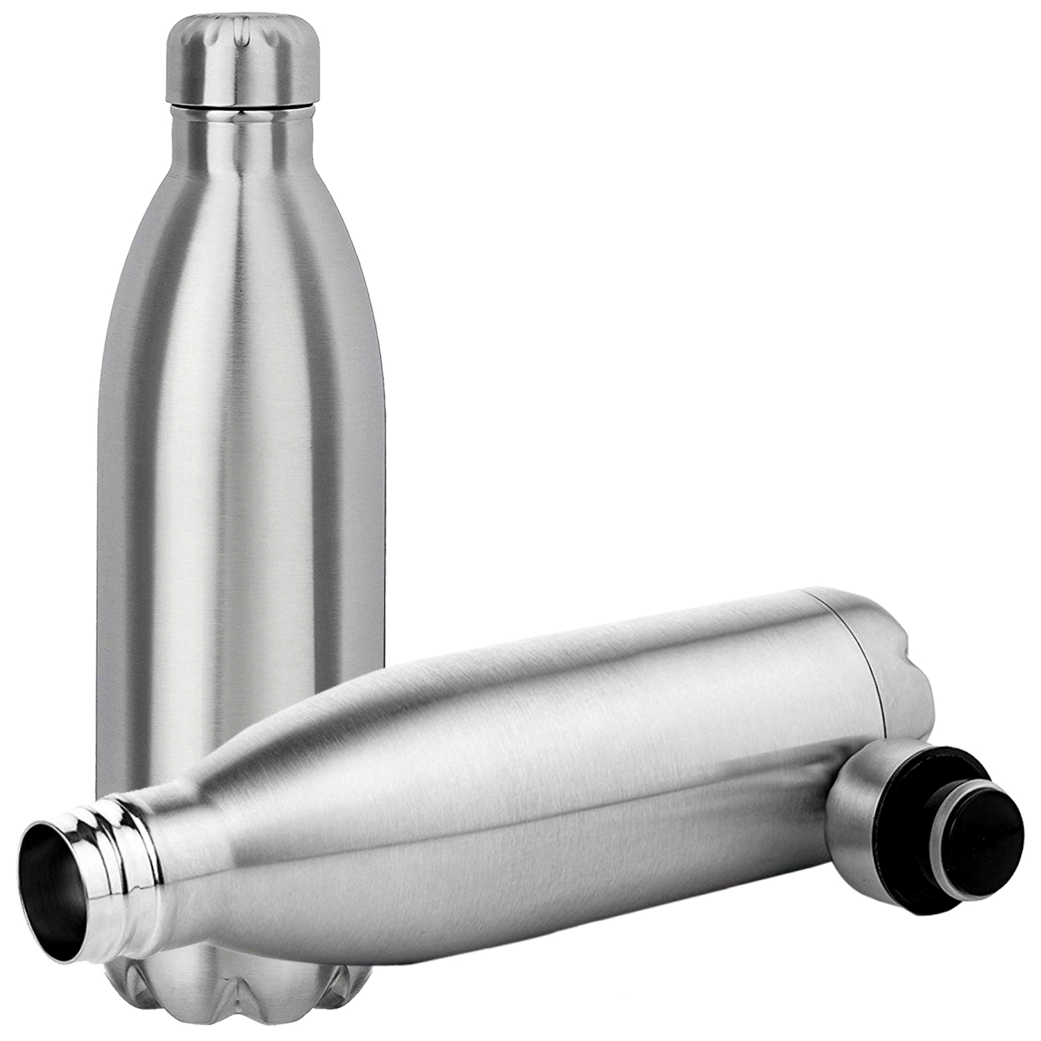 Kuber Industries Double Wall Vacuum Insulated 2 Pieces Stainless Steel Hot And Cold Water Bottle,Travel Thermos Flask ,500 ml (Silver)-CTKTC43537