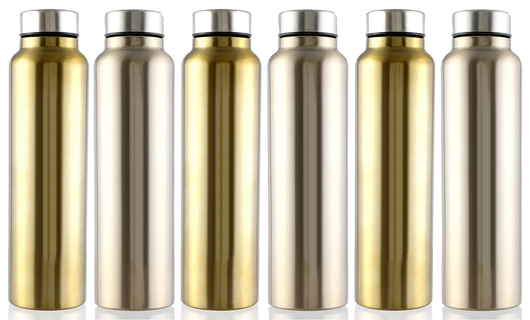 Kuber Industries Eagle Stainless Steel 6 Pieces Fridge Water Bottle/Refrigerator Bottle/Thunder, 1000 ML (Brown & Gold)-CTKTC43585