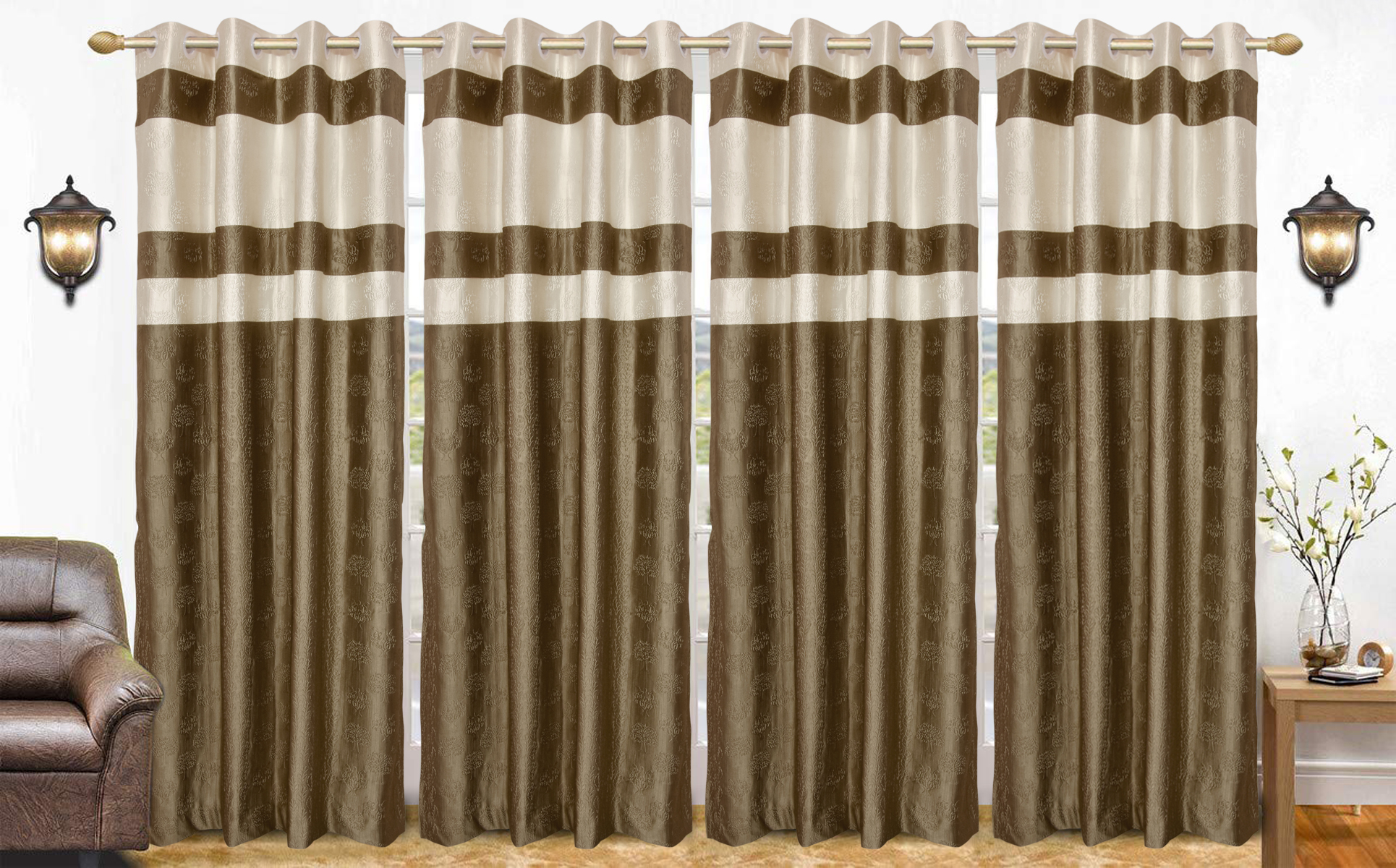 Kuber Industries Embossed Print 4 Pieces Silk Patio Sliding Door Curtain Wide Blackout Curtains Keep Warm Draperies Sliding Glass Door Drapes 7 Fe
