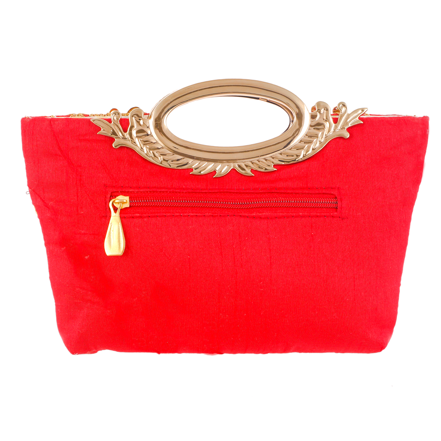 Kuber Industries Embroidered Silk Clutch Ladies Handbag  (Red) - CTKTC23001