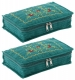 Kuber Industries Embroidery Design 2 Pieces Cotton Jewellery Kit, Green - CTKTC30587