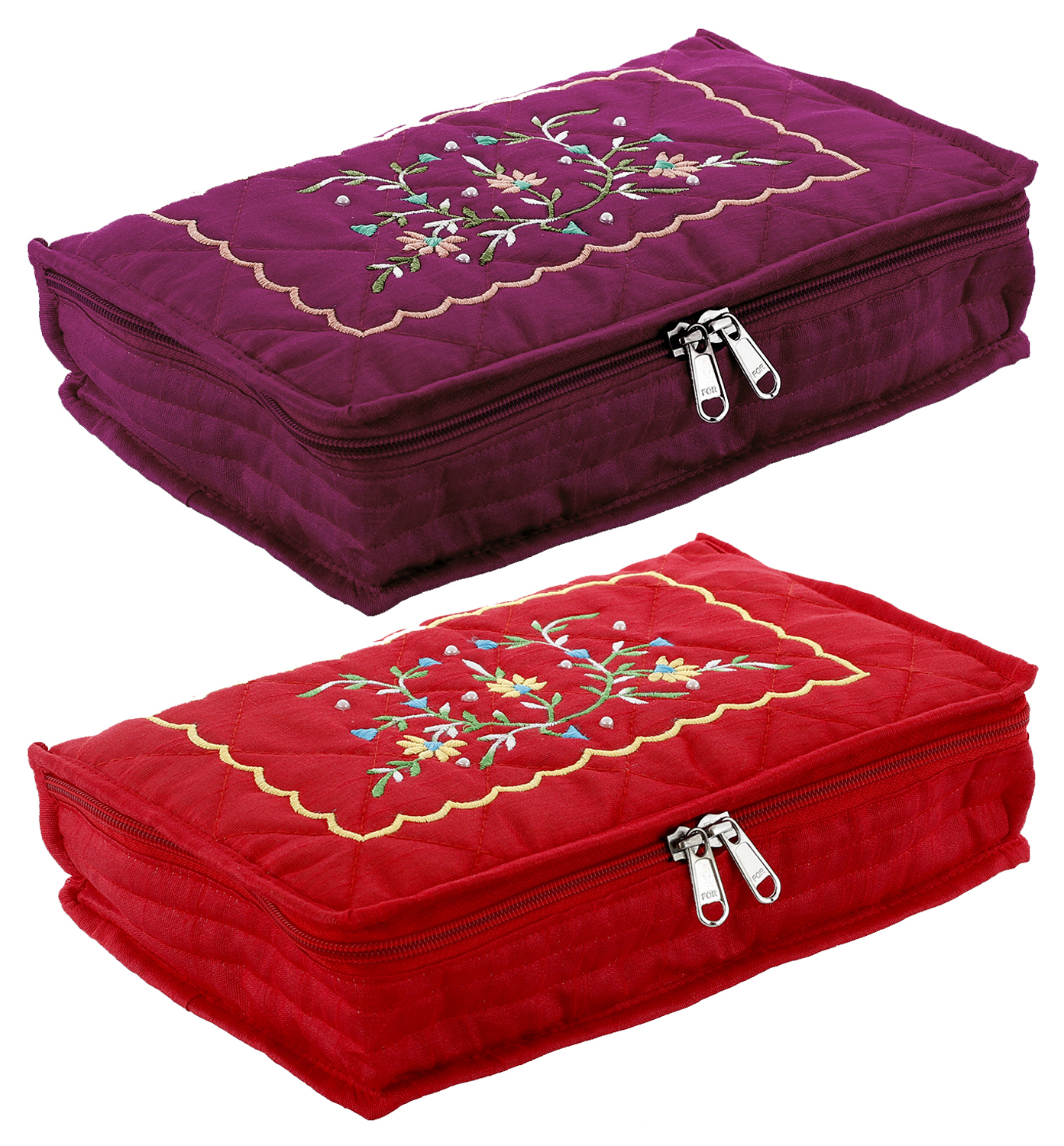 Kuber Industries Embroidery Design 2 Pieces Cotton Jewellery Kit, Red & Maroon - CTKTC30602
