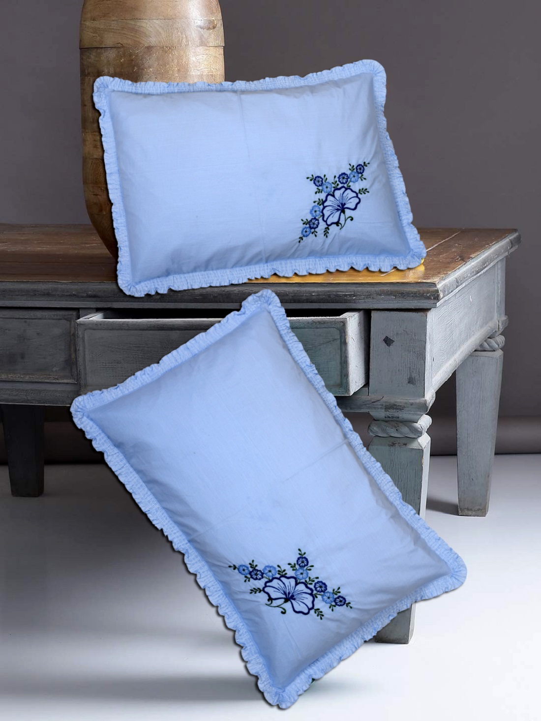 "Kuber Industries Embroidery Design 6 Piece Cotton Pillow Cover Set-17""x27"" (Blue) Luxury Pillow Covers - CTKTC40268"