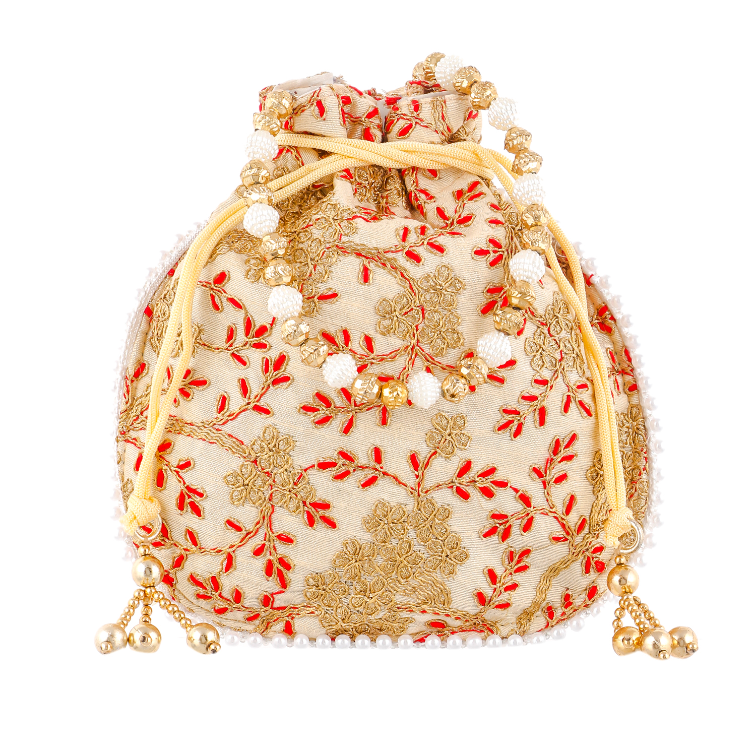 Kuber Industries Ethnic Clutch Silk 2 Pieces Potli Batwa Pouch Bag with Beadwork Gift For Women (Cream) - CTKTC23014