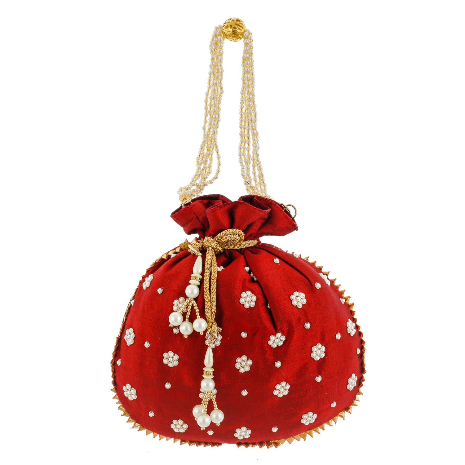 Kuber Industries Ethnic Clutch Silk 2 Pieces Potli Batwa Pouch Bag with Beadwork Gift For Women (Maroon & Gold) - CTKTC23107