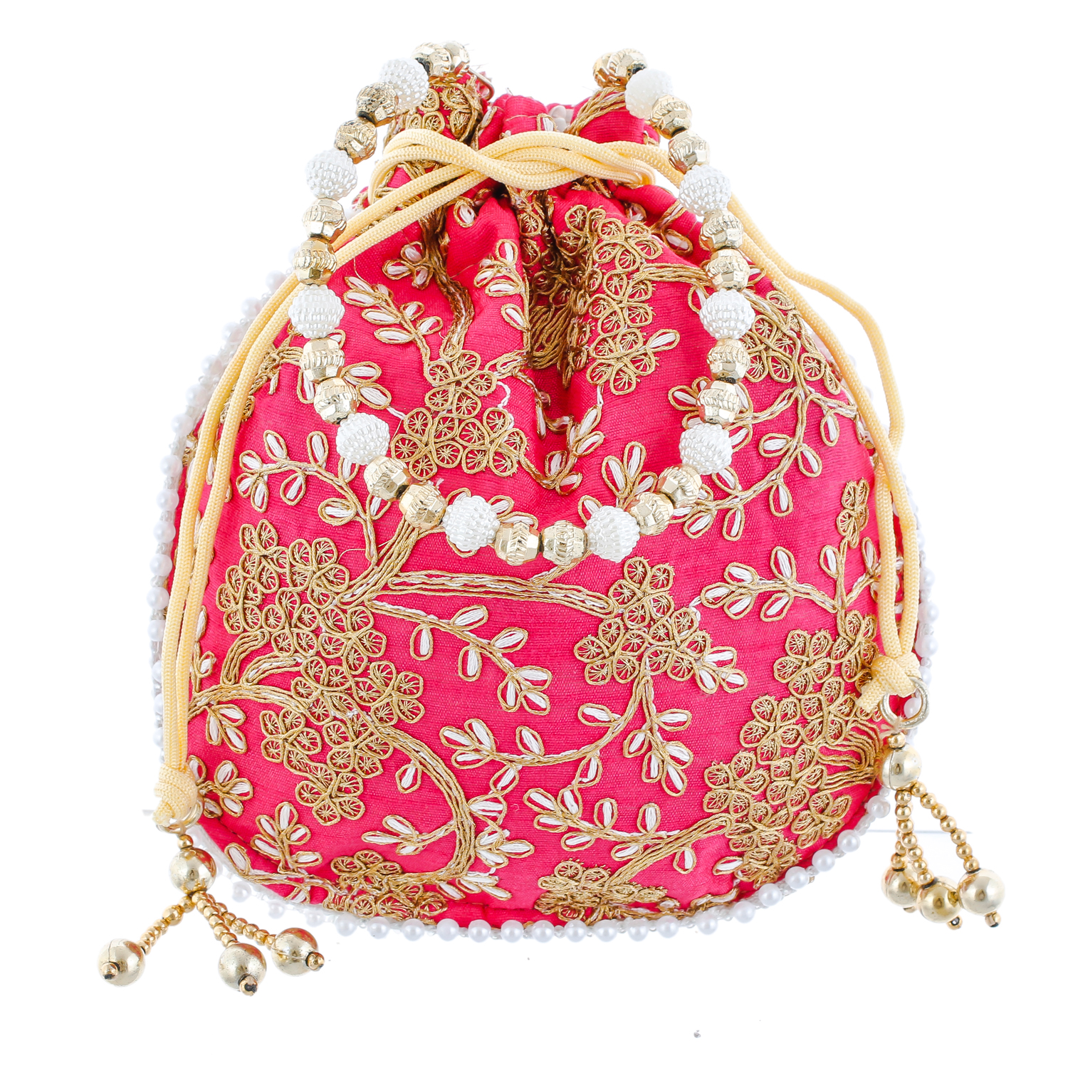 Kuber Industries Ethnic Clutch Silk 2 Pieces Potli Batwa Pouch Bag with Beadwork Gift For Women (Maroon & Pink) - CTKTC23044