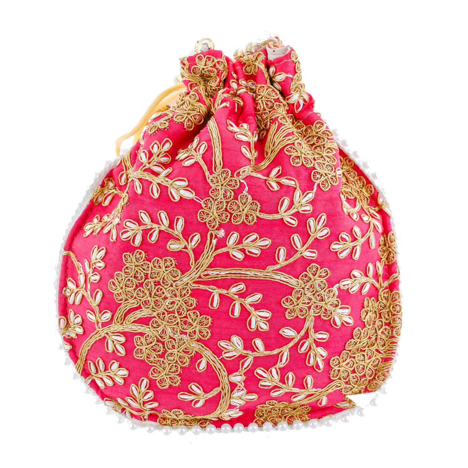 Kuber Industries Ethnic Clutch Silk 2 Pieces Potli Batwa Pouch Bag with Beadwork Gift For Women (Pink) - CTKTC23034