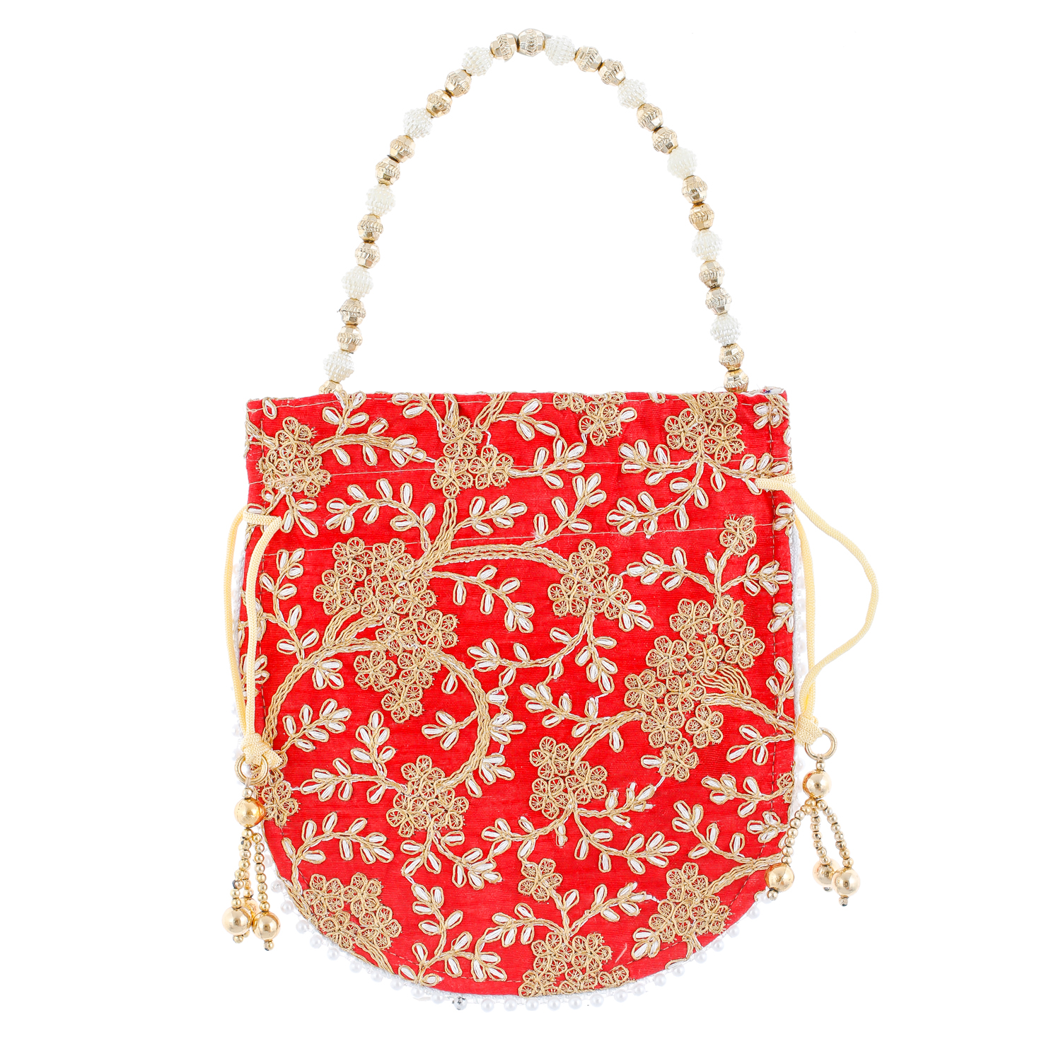 Kuber Industries Ethnic Clutch Silk 2 Pieces Potli Batwa Pouch Bag with Beadwork Gift For Women (Red) - CTKTC23038