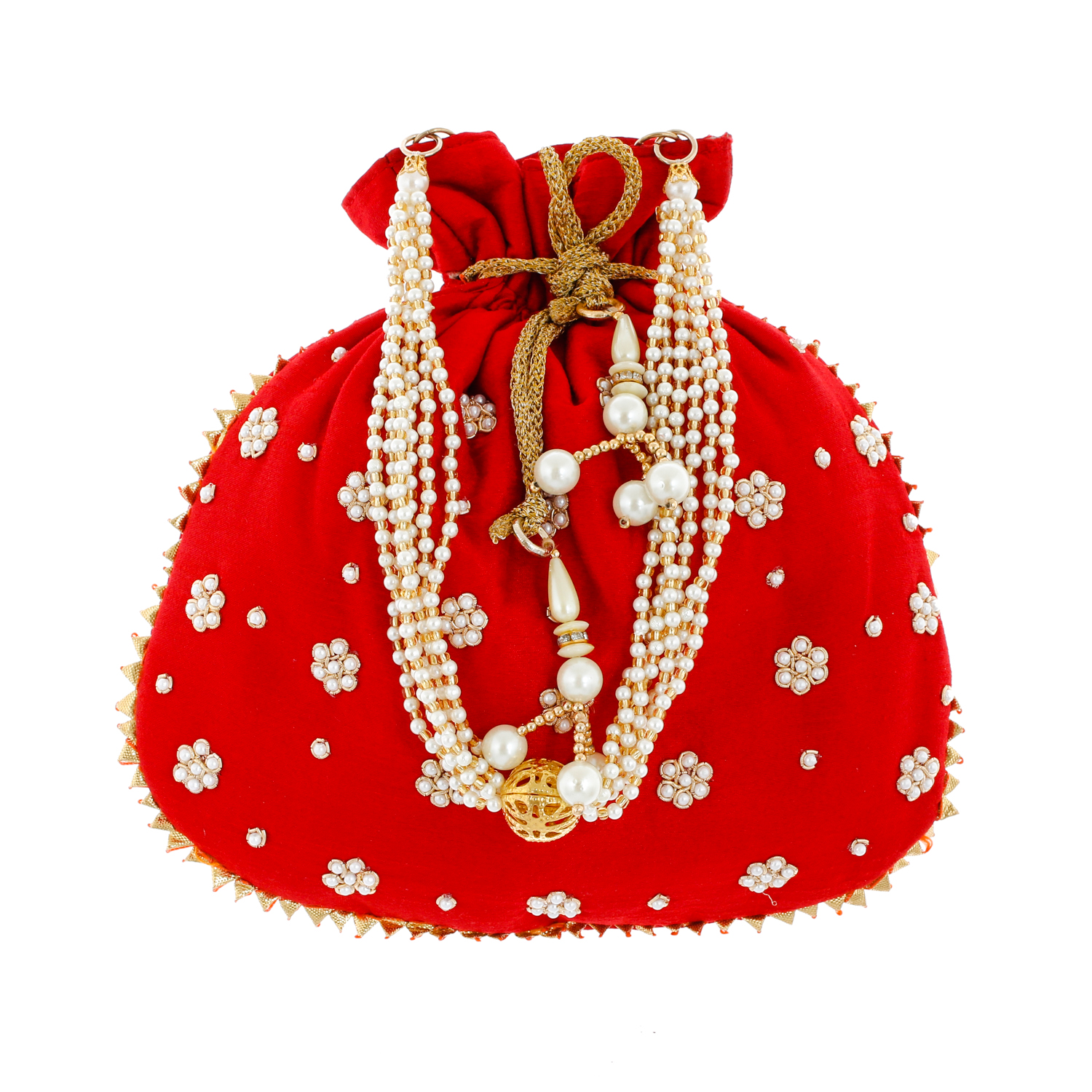 Kuber Industries Ethnic Clutch Silk 2 Pieces Potli Batwa Pouch Bag with Beadwork Gift For Women (Red) - CTKTC23081