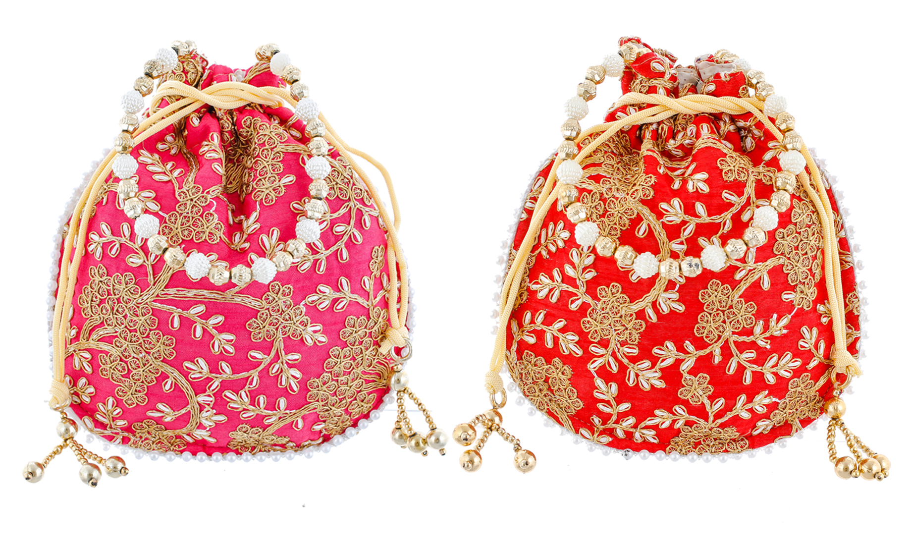 Kuber Industries Ethnic Clutch Silk 2 Pieces Potli Batwa Pouch Bag with Beadwork Gift For Women (Red & Pink) - CTKTC23045