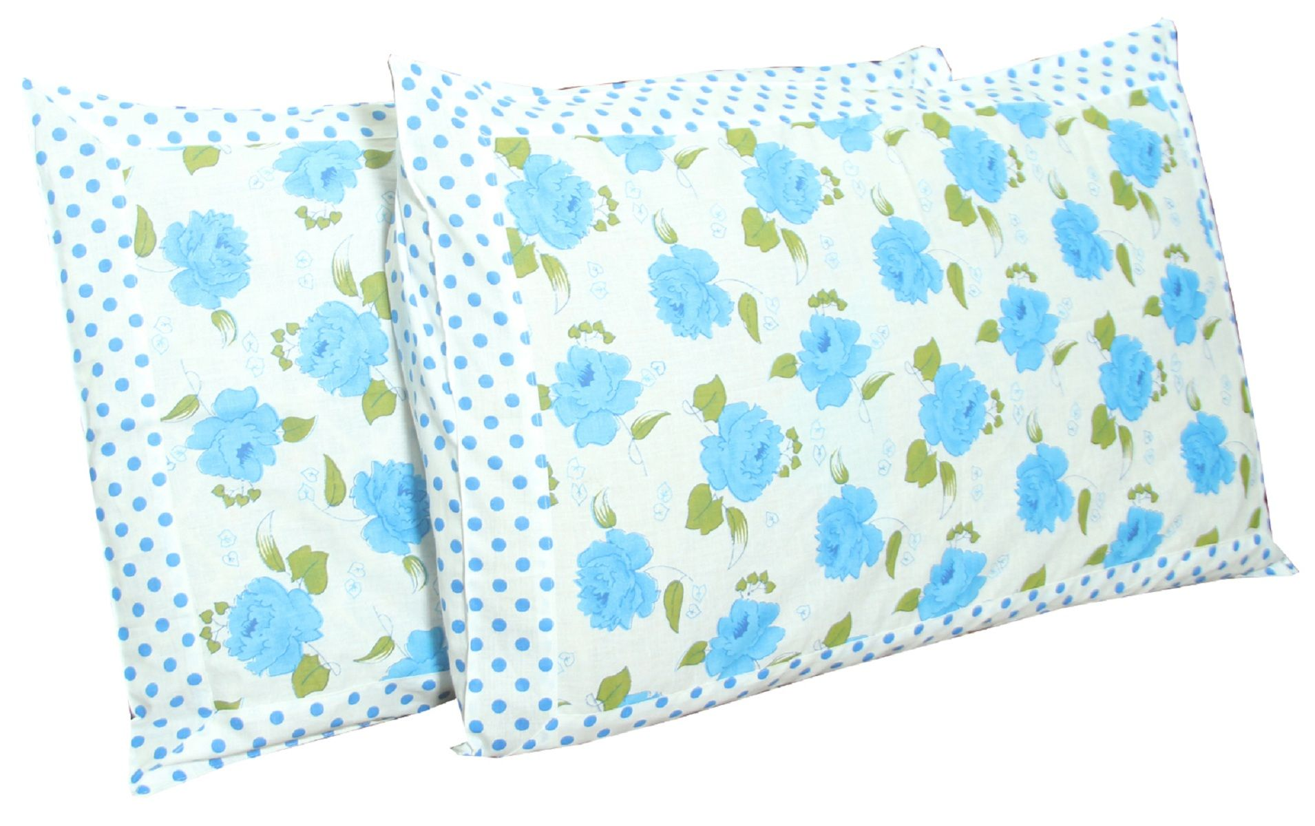 Kuber Industries™ Exclusive Blue Flower Print Premium Cotton Pillow Cover -Set of 2 Pcs (White) Code-Pillowc03