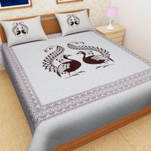 Kuber Industries™ Exclusive Cotton Double Bedsheet King Size with 2 Pillow Covers -Cream (Black Peacock Design) (100*108 Inches)