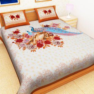 Kuber Industries™ Exclusive Cotton Double Bedsheet King Size with 2 Pillow Covers -Light Brown (Peacock Design) (100*108 Inches)