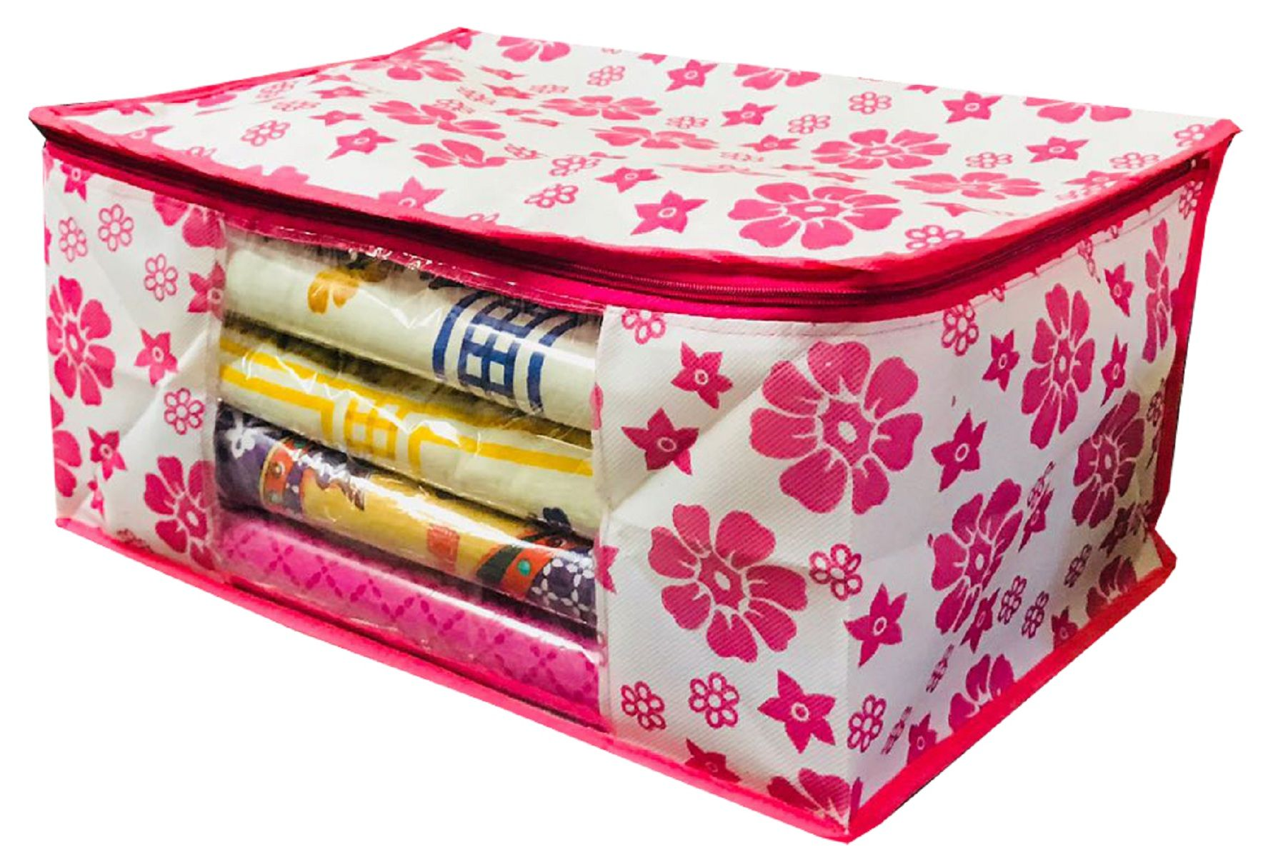 Kuber Industries™ Extra Large Size Non Woven Saree Cover Pink Floral Design Set of 3 Pcs (90 GSM Fabric) -NS17