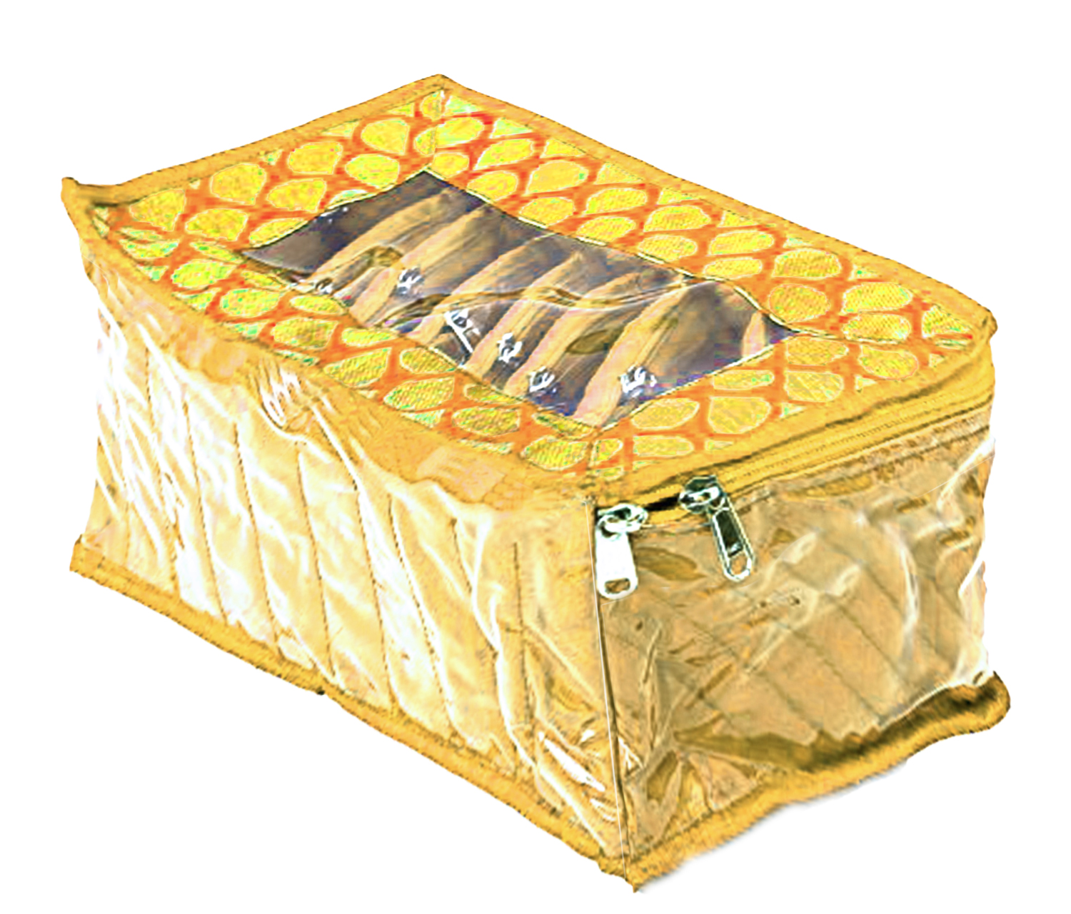 Kuber Industries Fabric Jewellery Box with 10 Transparent Pouches, (Yellow) - CTKTC30957