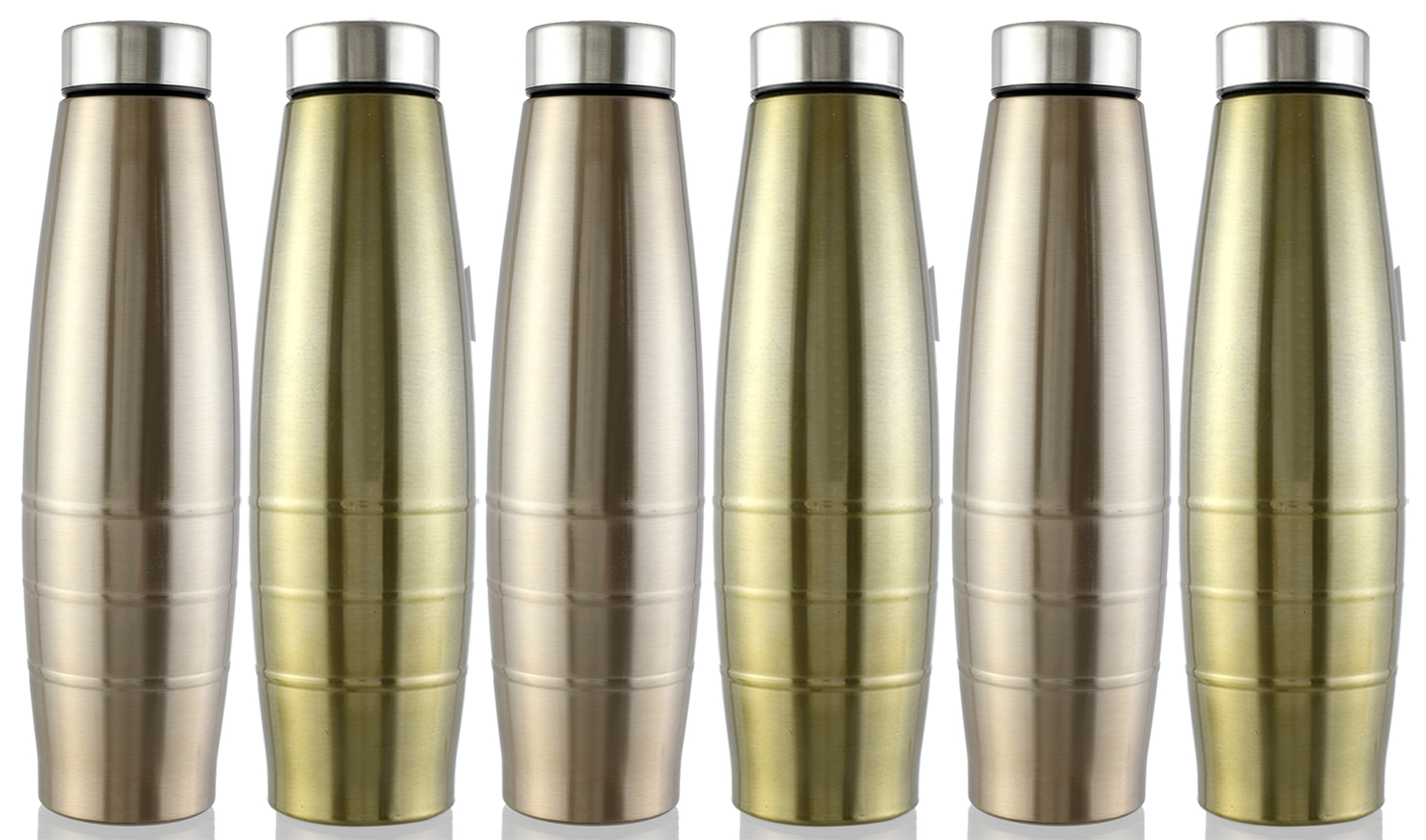 Kuber Industries Falcon Stainless Steel 6 Pieces Fridge Water Bottle/Refrigerator Bottle/Thunder, 1000 ML (Brown & Gold)-CTKTC43622