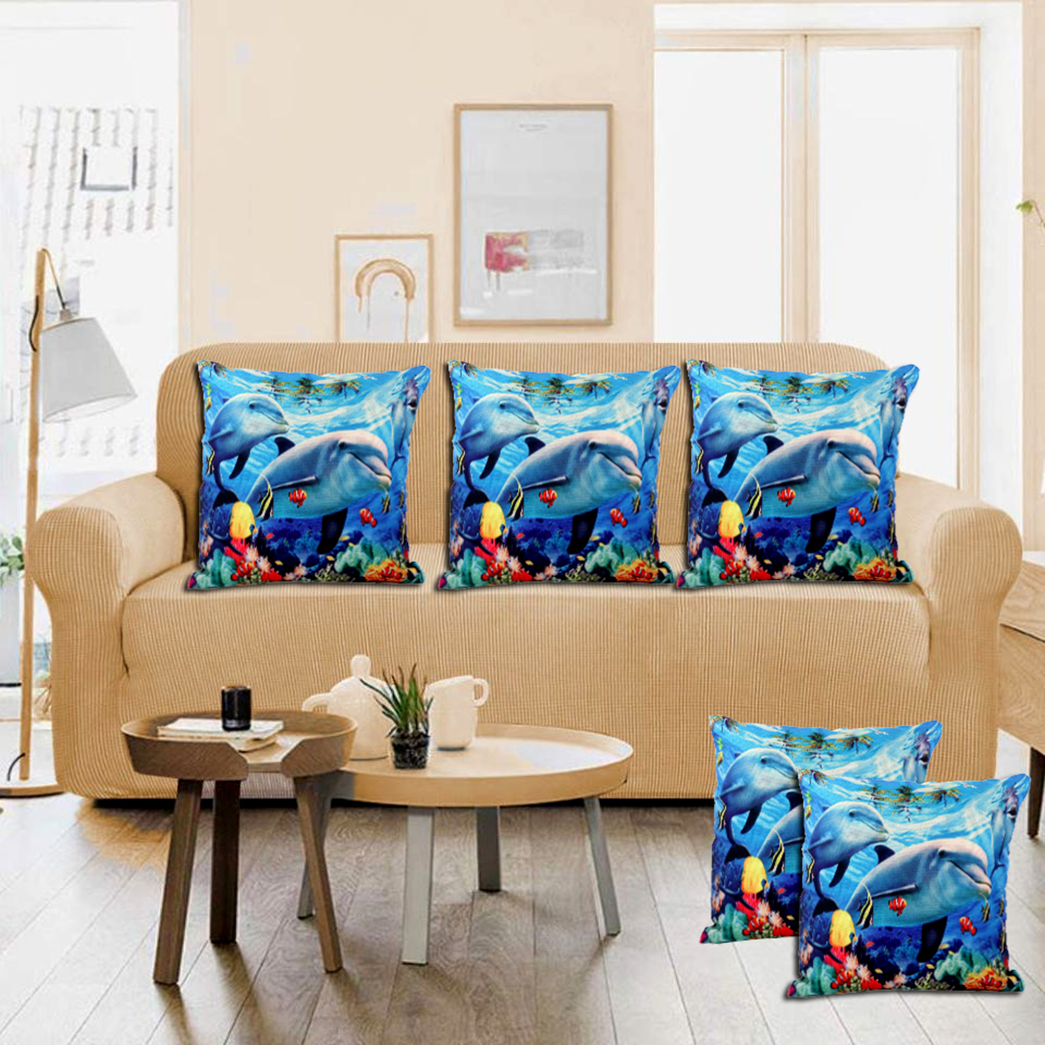 "Kuber Industries Fish Design 5 Pieces Cotton Cushion Cover - 16""x16""(Blue) -CTKTC24346"