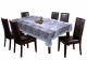 Kuber Industries Floral Checkered Design PVC 6 Seater Dining Table Cover (Grey)-CTKTC14370