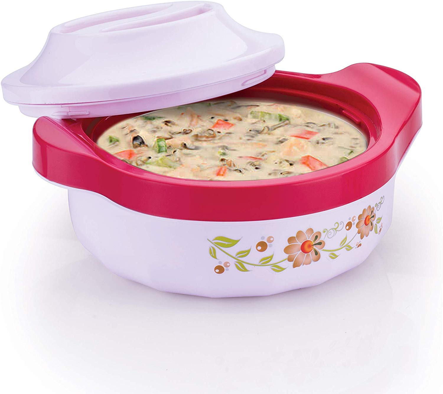Kuber Industries Floral Design 2 Pieces High Quality Plastic Insulated Steel Casseroles,750 ML (Light Pink) - CTKTC30901