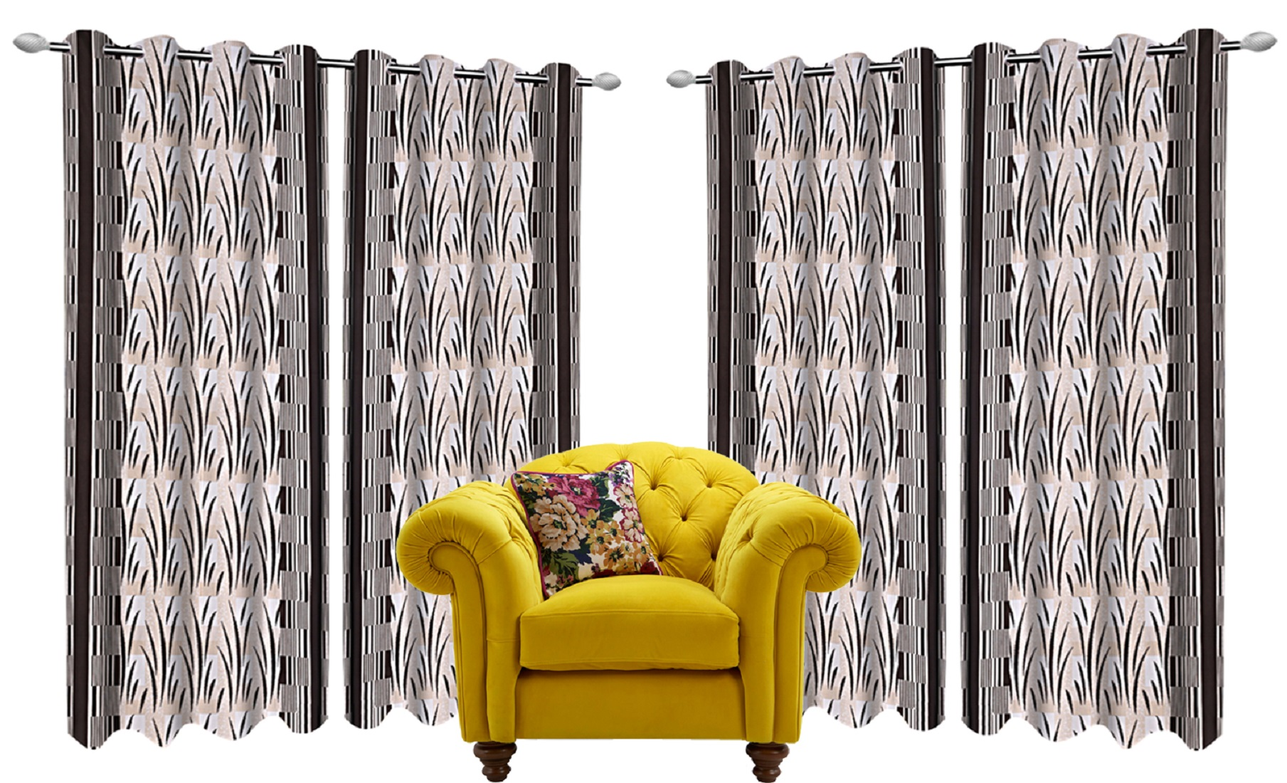 Kuber Industries Floral Design 4 Pieces Polyester Eyelet Door Curtain 7 Feet (Brown)-CTKTC14295
