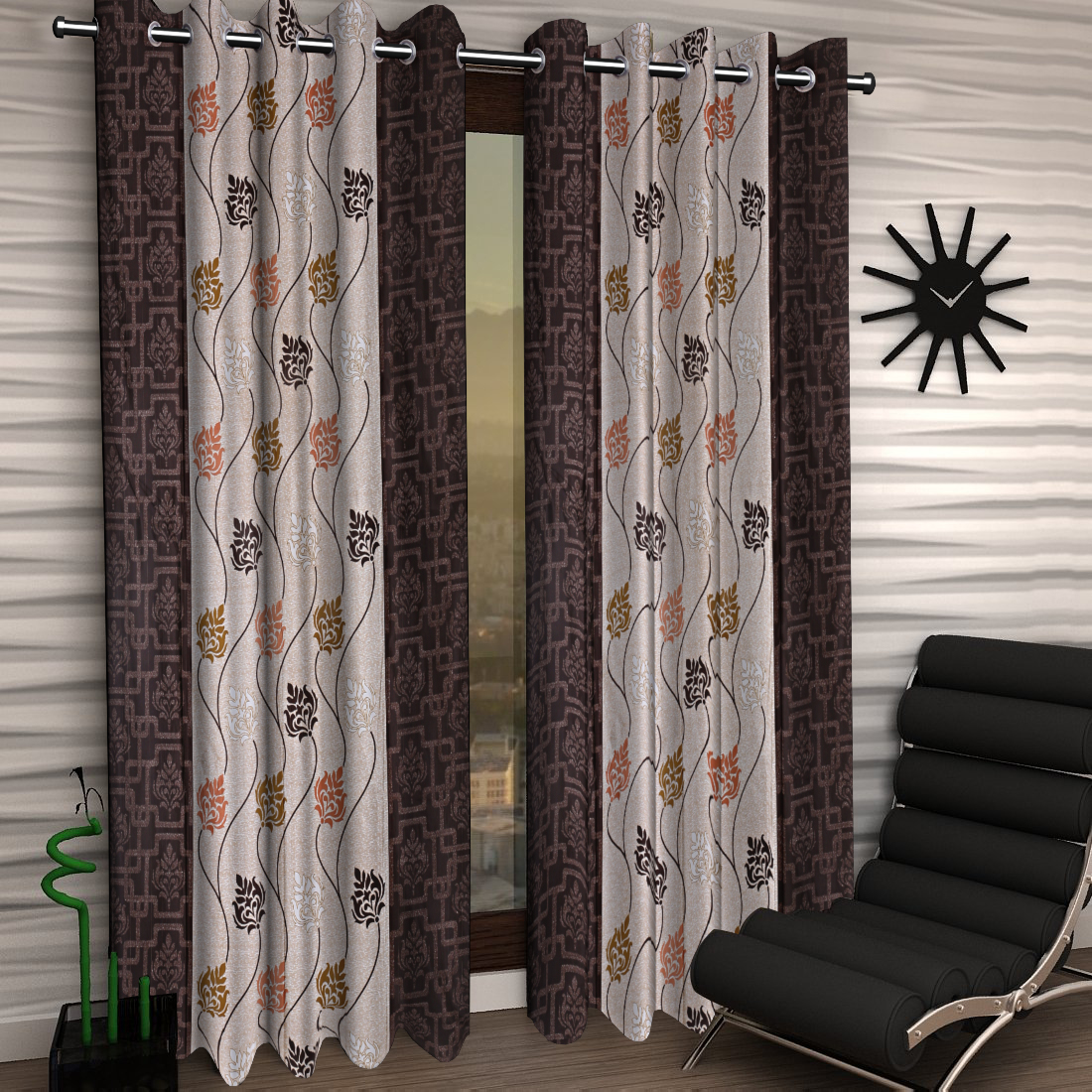 Kuber Industries Floral Design 4 Pieces Polyester Eyelet Door Curtain 7 Feet (Coffee)-CTKTC14255