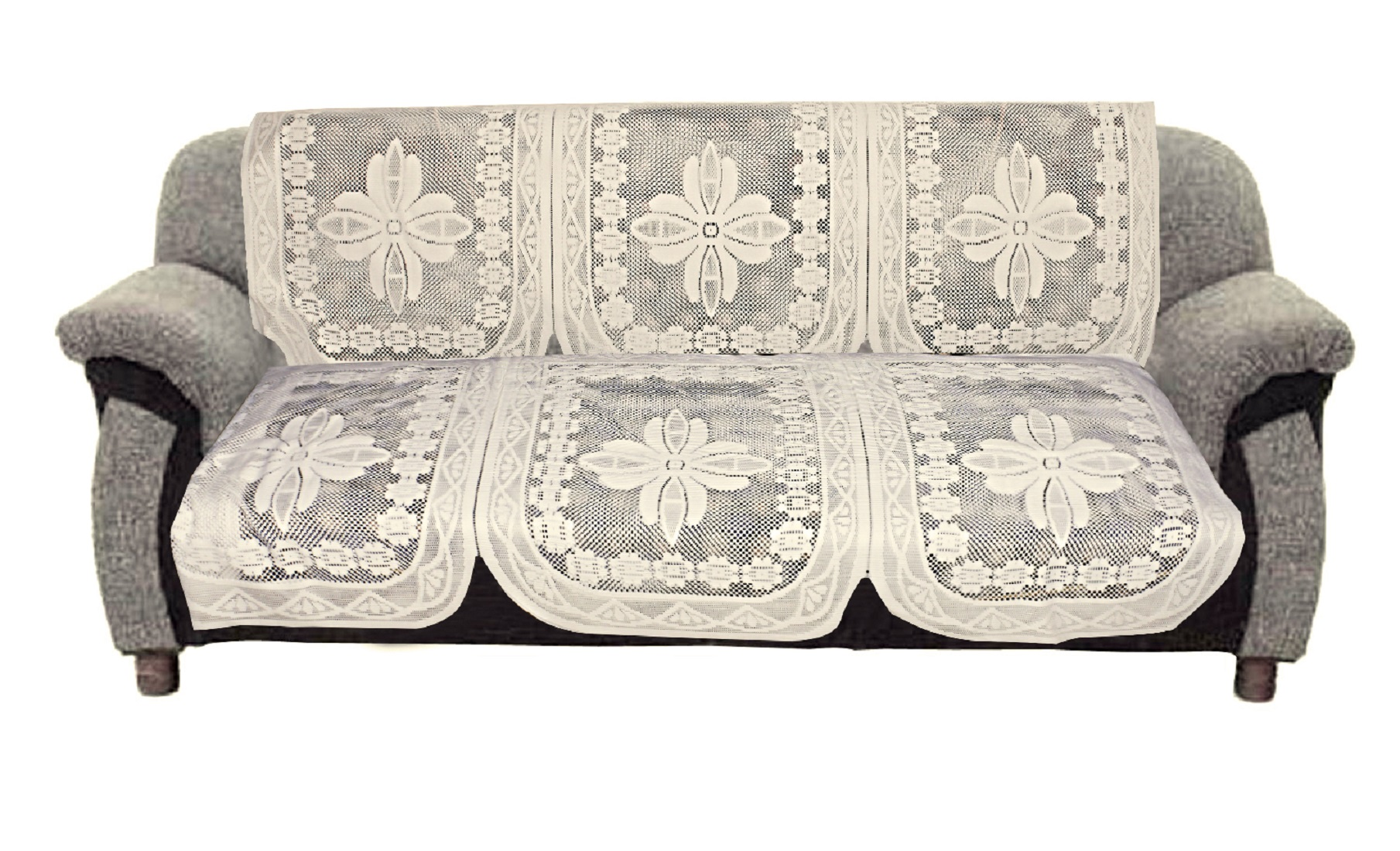 Kuber Industries Floral Design Cotton 6 Pieces 5 Seater Sofa Cover Set (Cream)-CTKTC32977