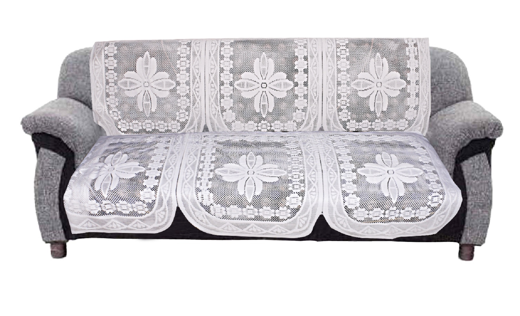 Kuber Industries Floral Design Cotton 6 Pieces 5 Seater Sofa Cover Set (White)-CTKTC32976