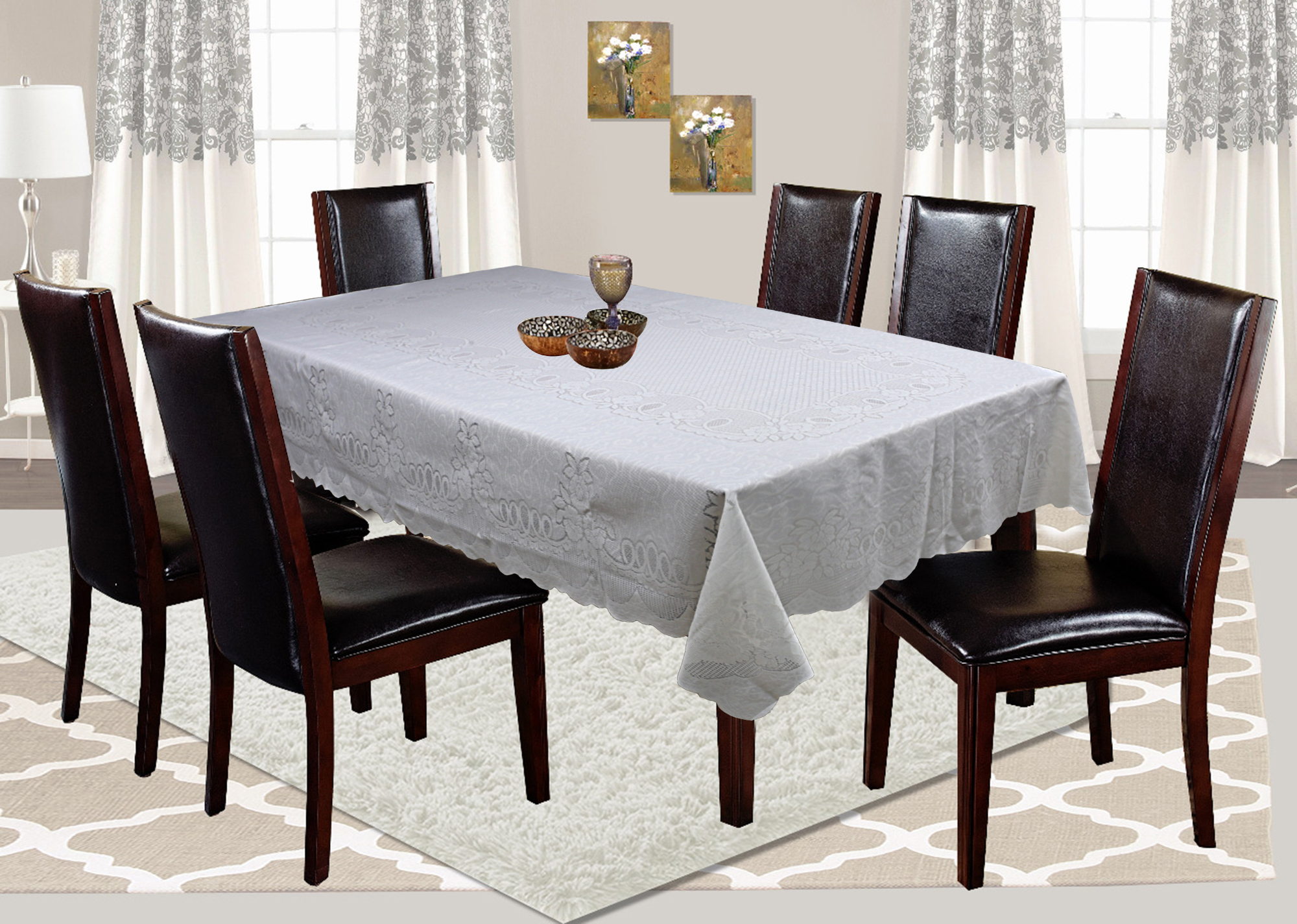 "Kuber Industries Floral Design Cotton 6 Seater Dining Table Cover 60""x90"" (Cream)-CTKTC32579"