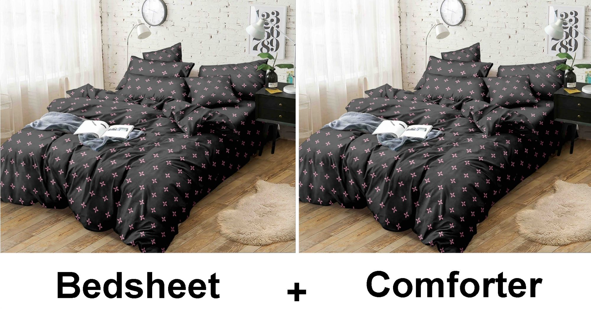 Kuber Industries Floral Design Glace Cotton AC Comforter King Size Bed Comforter, Double Bed Sheet, 2 Pillow Cover (Black, 90x100 Inches)-Set of 4 Pieces-CTKTC33188