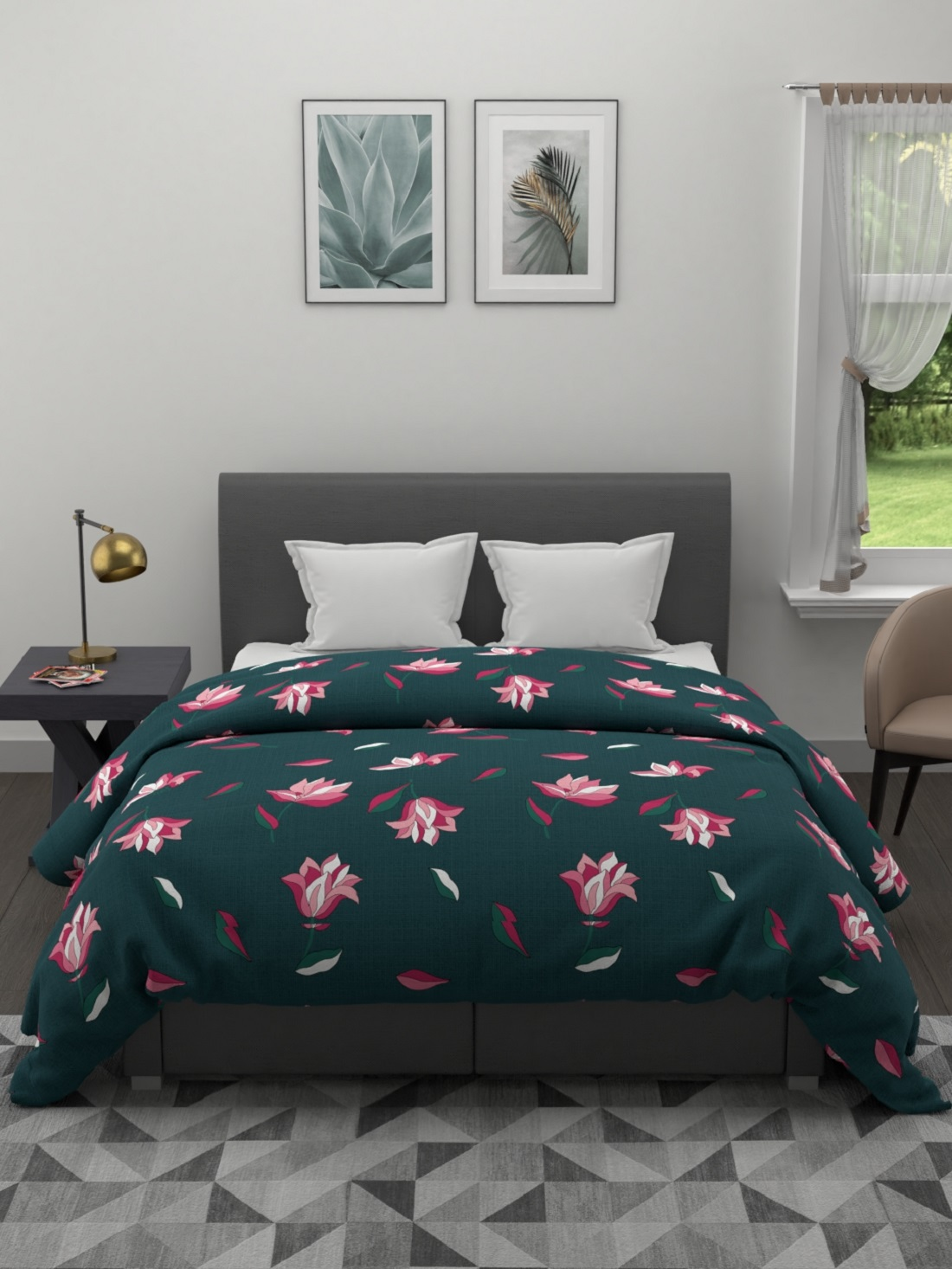 Kuber Industries Floral Design Glace Cotton Ac Comforter King Size Bed Comforter Double Bed Sheet 2 Pillow Cover Green 90x100 Inches Set Of 4 Pie