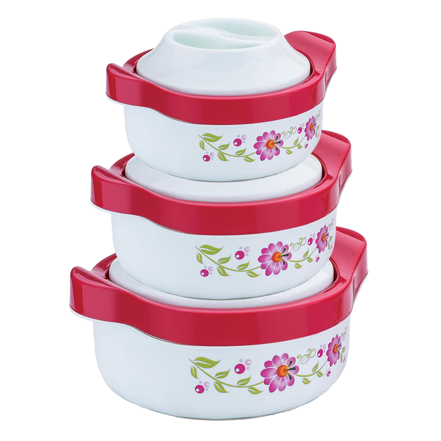 Kuber Industries Floral Design High Quality Plastic Insulated Steel Casseroles Set Of 3 Pcs,750 ML,1000 ML,1500 ML (Light Green) - CTKTC30911