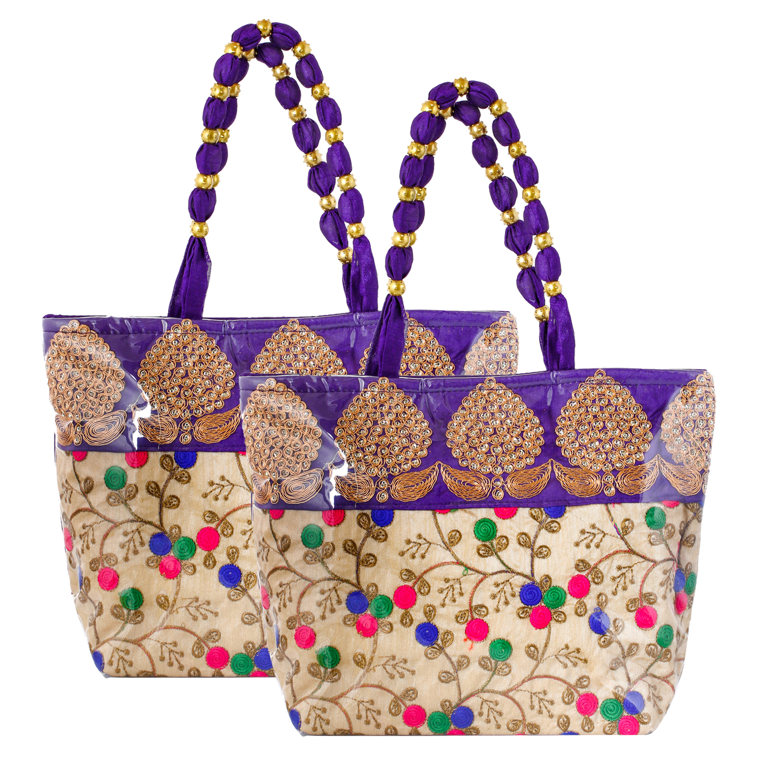 Kuber Industries Floral Design Silk 2 Pieces Laminated Embroidered Women's Handbag (Purple) - CTKTC23118