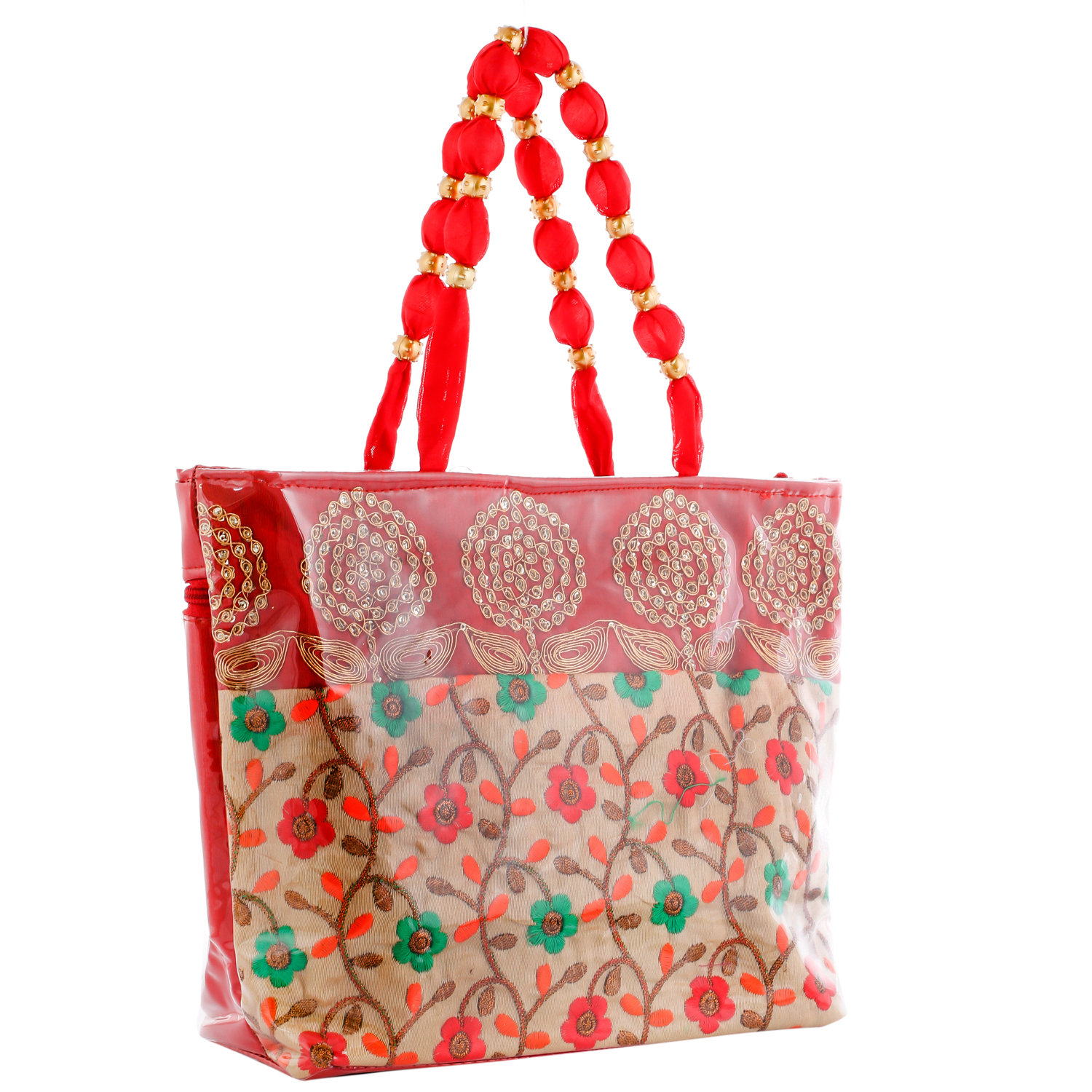 Kuber Industries Floral Design Silk 2 Pieces Laminated Embroidered Women's Handbag (Red) - CTKTC23130