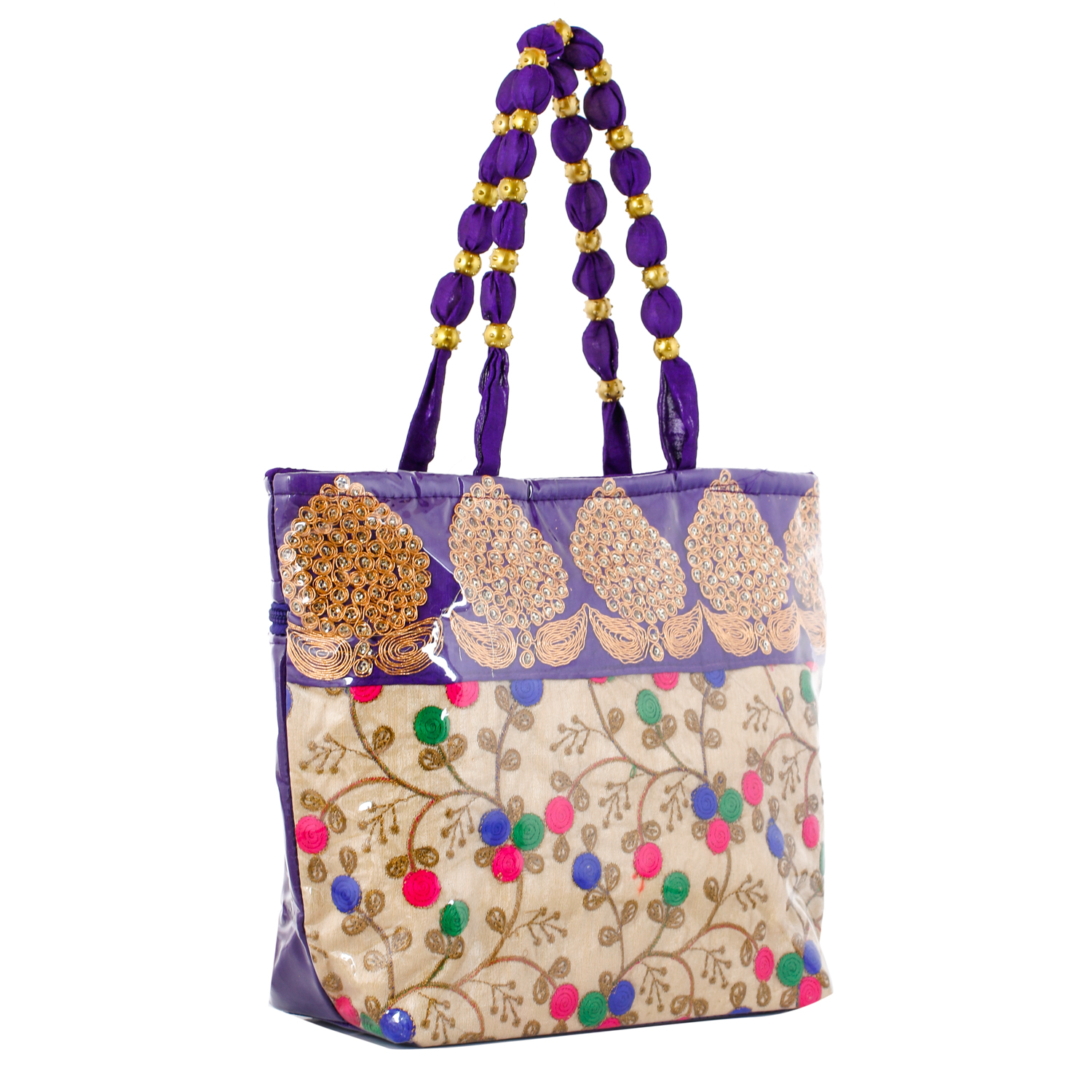 Kuber Industries Floral Design Silk Laminated Embroidered Women's Handbag (Purple) - CTKTC23117