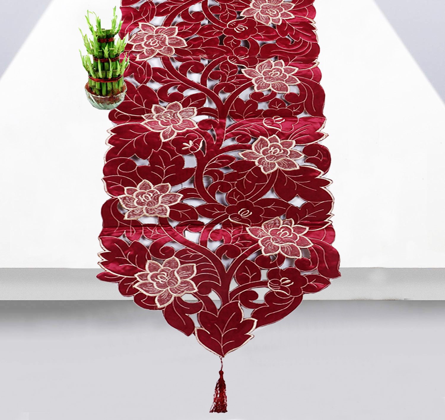 "Kuber Industries Floral Design Soft Cotton Dining Table Runner 66""x15"" or 165 x 38 Cm (Maroon)"