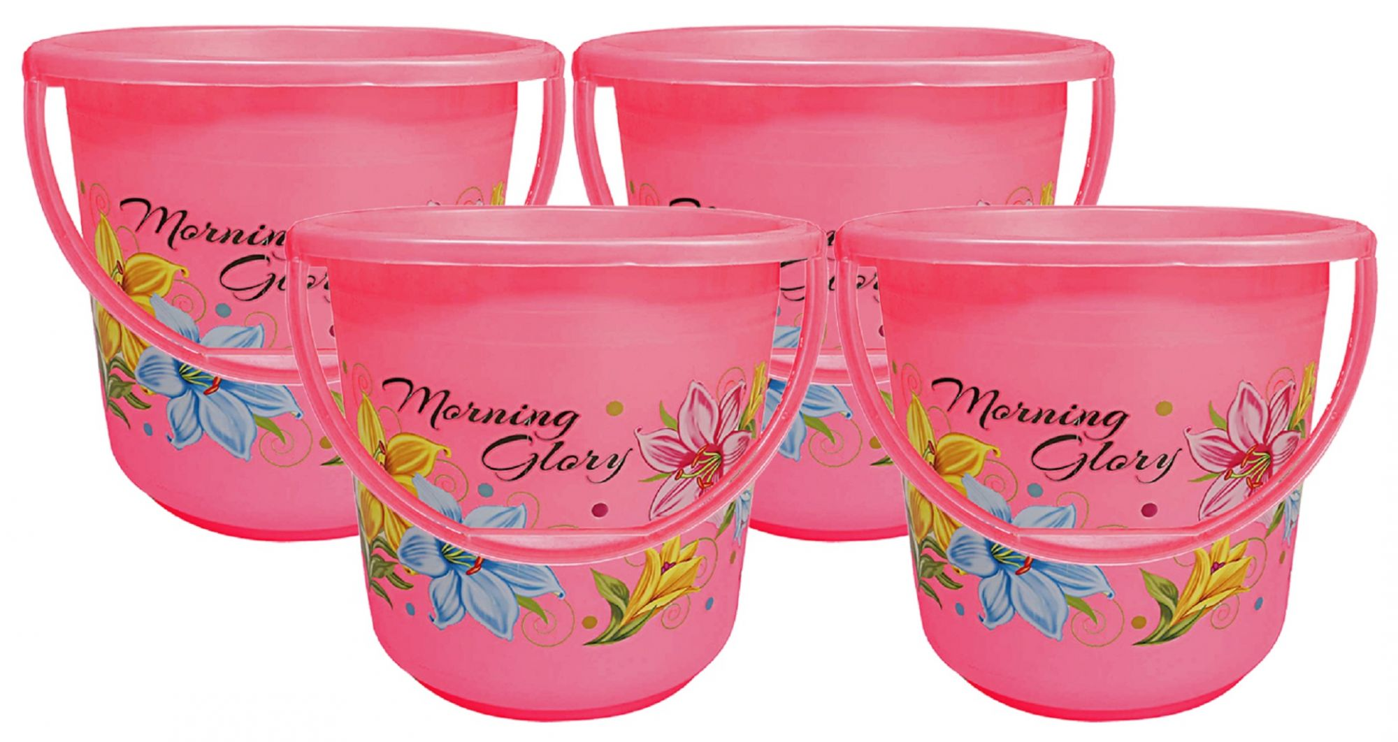 Kuber Industries Floral Print 4 Pieces Unbreakable Strong Plastic Bathroom Bucket 16 Ltr (Pink) -CTKTC34858