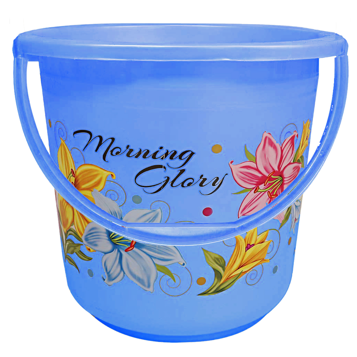 Kuber Industries Floral Print 6 Pieces Unbreakable Strong Plastic Bathroom Bucket 16 Ltr (Blue) -CTKTC34870